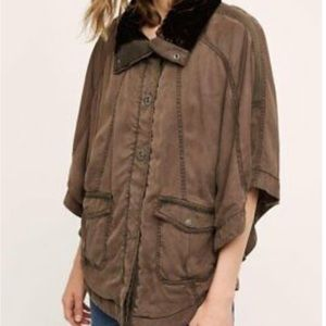 Anthropologie Hei Hei Poncho Anorak Military XS/S